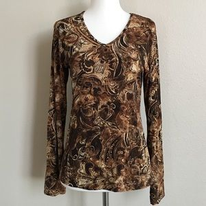 Chicos Floral Brown V-neck Tee Sweater